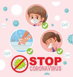 stop coronavirus with girl doing step vector image