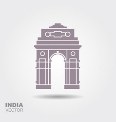 stylized silhouette indian gate in new delhi vector image