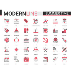 summer time red black flat line icon vector image