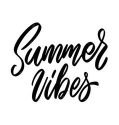 Summer vibes lettering phrase on white background vector