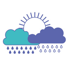 sun and cloud with rain in blue and purple color vector image