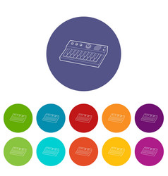 synthesizer icon outline style vector image