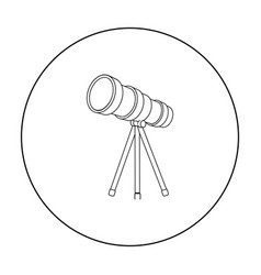 Telescope icon in outline style isolated on white vector