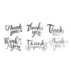 thank you retro hand drawn monochrome labels set vector image