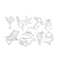 travel and vacation hand drawn symbols set summer vector image