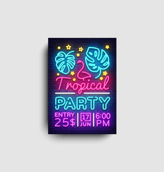 tropical party poster neon summer party vector image