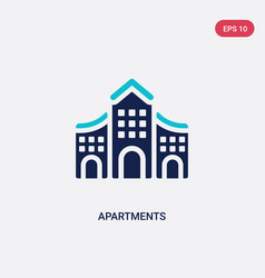 Two color apartments icon from architecture and vector
