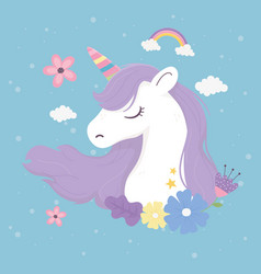 unicorn flowers clouds decoration fantasy magic vector image