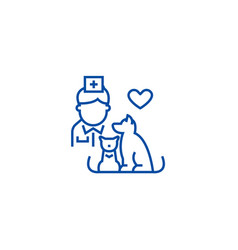 veterinarian with dog and cat line icon concept vector image