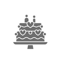 wedding cake with figures of newlyweds grey icon vector image