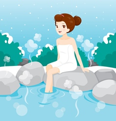 Woman Relaxing In Hot Spring vector image