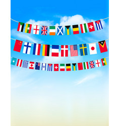 World bunting flags on blue sky vector