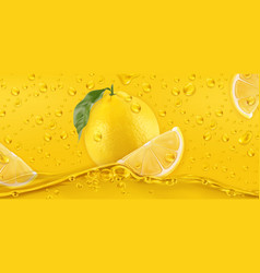 yellow drops lemon 3d realistic vector image