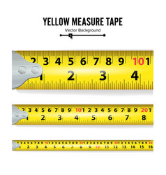 Yellow measure tape centimeter and inch vector
