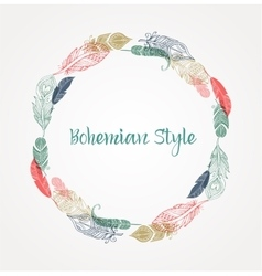 Bohemian style poster with gypsy colorful feathers vector image vector image
