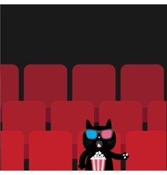 Cat sitting in movie theater eating popcorn cute vector