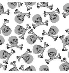 Seamless pattern Jolly Roger skull and crossbones vector image