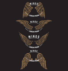 set of vintage emblem templates with wings design vector image vector image