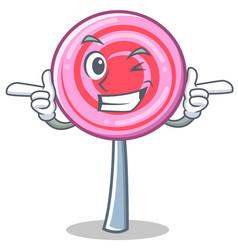 wink cute lollipop character cartoon vector image vector image