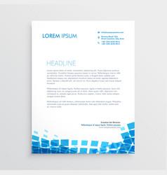 blue mosiac style letterhead design vector image