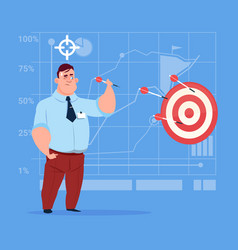 business man hold arrow hit target successful goal vector image