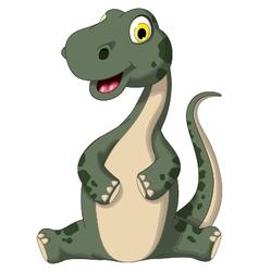 cute dinosaur cartoon sitting vector image