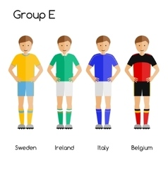 Football team players group e - sweden ireland vector