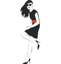 Girl in black 07 vector image