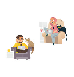 people working from home remote work set vector image