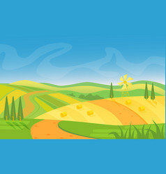 rural beautiful landscape fields and hills at vector image vector image