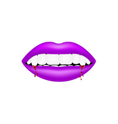vampire mouth in purple design with bloody teeth vector image
