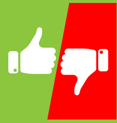 vote thumbs up icon in red and green fields make vector image vector image