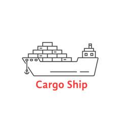 black thin line cargo ship icon vector image