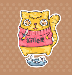funny cat killer vector image vector image