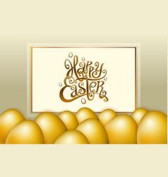 happy easter lettering modern calligraphy gold egg vector image