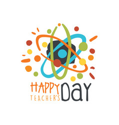 happy teachers day label back to school logo vector image vector image