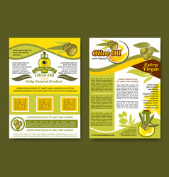 olive oil extra virgin product posters set vector image