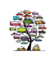 Tree with cars transportation concept for your vector image