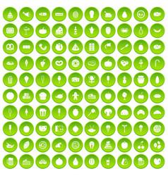 100 tasty food icons set green circle vector