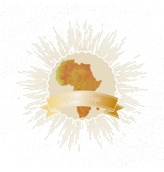 Africa map with vintage style star burst yellow vector image