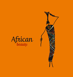 african woman with jug ornate sketch for your vector image