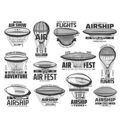air show flight tours and aeronautics retro icons vector image