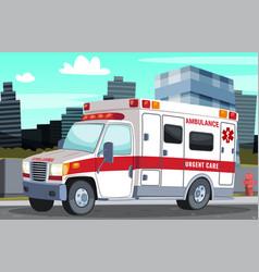 Ambulance stands on street near sidewalk vector
