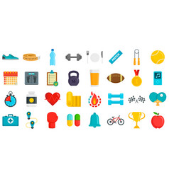 Apps for fitness icons set flat style vector