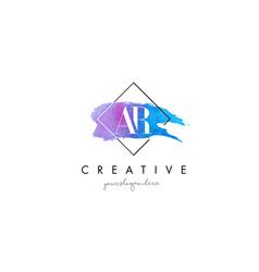 Ar artistic watercolor letter brush logo vector