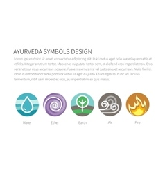 Ayurvedic elements water fire air earth vector
