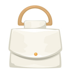 Basic leather handbag for women with golden decor vector