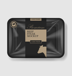 beef steak packaging plastic tray container with vector image