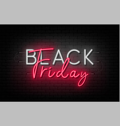 black friday sale friday neon sign on brick vector image