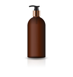 blank brown cosmetic round bottle with pump head vector image